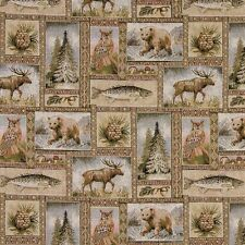 A024 Rustic Bears Moose Trees Acorns Fish Tapestry Upholstery Fabric By The Yard