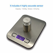 1g - 5Kg Slim Digital Kitchen Scale Stainless Steel 11lb x 0.05oz Food/Postal