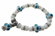 Evil Eye Stretch Charm Bracelet with White Murano Glass Beads and CZ Stones