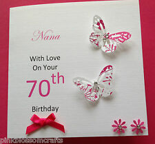 HANDMADE PERSONALISED BIRTHDAY CARD MUM GRANDMA NANA SISTER 50TH 60TH 70TH 80TH