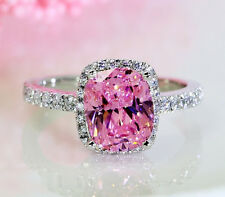 Dazzling Cushion PinK AAA CZ Diamonique 925 Silver Wedding band Ring Sz 7/N Gift