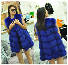 Genuine 100% Real Fox Fur Vest Women Fashion Gilet Ladies Long Jacket Coat Warm