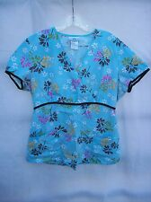 SCRUBS Top Woman's MEDIUM Blue TURQUOISE Floral