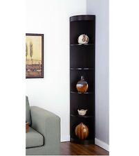 Tall Corner Shelves Display Stand Rack Living Room Cabinet Wood Bookcase