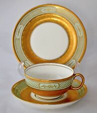 ANTIQUE ROYAL DOULTON FOR HARRODS E8142 GOLD & GREEN TRIO - ROBERT ALLEN Ra7781