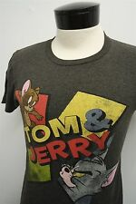 RARE! VTG TOM & JERRY 'Soft Spun' cartoon gray funny t-shirt sz S mens S/S#8825