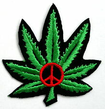 Weed ferro su patch Denim Giacca CANNABIS joint PEACE LOVE FUMO FUMARE TABACCO