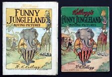 2 Vintage 1909 KELLOGG'S FUNNY JUNGLELAND Childrens MOVING PICTURES Comic Book