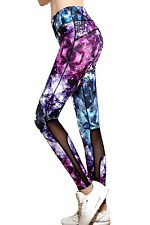Women Diamond Stars Print Slim Athletic Fitness Yoga Leggings size UK 10-12