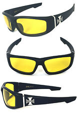 Choppers Cross Logo Mens Motor Sunglasses - C39 Matte Black/ Night Driving Lens