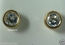 3mm Bezel Set Solid 14K Yellow Gold AAA D-Flawless CZ Stud Earrings SPARKLING