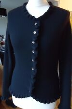 PURE 100% CASHMERE CARDIGAN WITH FRILL DETAIL SIZE 10