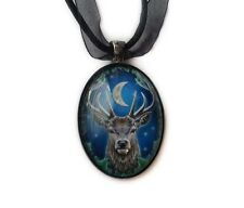 Lisa Parker The Emperor Red Deer Stag Cabochon Pendant Necklace in Gift Pouch