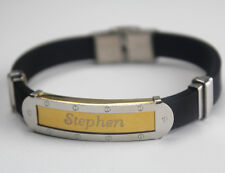STEPHEN - Bracelet With Name - Mens Silicone & Gold Tone Engraved - Gift For Him