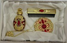Czech Victorian Jewelled Vanity Set Perfume Bottle Hand Mirror Comb 203