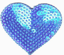 HEARTS-BLUE SEQUINED HEART-Iron On Applique Patch, Valentines, Love, Heart