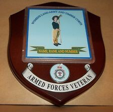 Women's Land Army and Timber Corps Wall Plaque with name rank& number