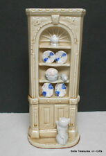 Ceramic Corner China Cabinet with Cat & Mouse
