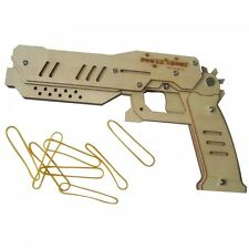 DIY Wooden Toy Guns Power Shoot Blaster Pistol Rubber Band Gun
