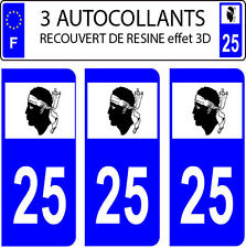 3 sticker plaque immatriculation auto DOMING 3D RESINE DRAPEAU CORSE  DEPARTE 25