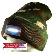 5-LED Bright Lights Camouflage Beanie Knitted Warm Winter Hat Walking Hunting