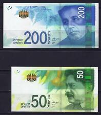 ISRAEL 2014 2015 SET OF  200 + 50 NEW SHEQEL NIS BANKNOTE MONEY COINS UNC