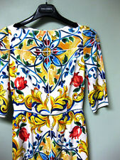 $2445 Dolce & Gabbana AUTH NWT Maiolica Tile Print Silk Blend Midi Dress 38
