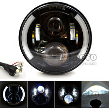 "7"" Motorcycle Projector Daymaker Hi/Lo HID LED Headlight Bulb DRL Headlamp Black"