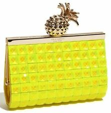 Kate Spade Lella Frame Clutch 'Lemondrop' Pineapple Clasp NWT NEON YELLOW FACET