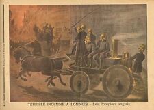 English Firemen, Fire In London, Disasters, Vintage 1890 French Antique Print