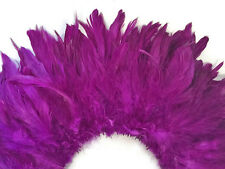 4 Inch Strip - Purple Bleached And Dyed Strung Rooster Schlappen Feathers