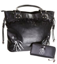 Banned Gothic Skeleton Hand Gothic Shoulder Bag Handbag & Wallet GIFT SET Black