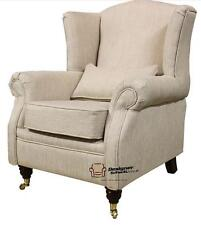 Ashley Fireside High Back Wing Armchair Velluto Zoe Plain Biscuit Beige Fabric