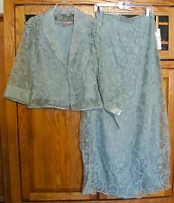 JEFFREY & DARA EVENINGS TOM BARRA JACKET TOP SKIRT SET 8/10 GREEN MOSS