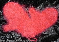 handgestrickt Designer Handschuhe Fäustlinge Langhaar Mohair Gloves rot Handmade