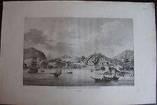 VUE DU PORT ET DE LA VILLE DE CHESME. (Voyage Grece CHOISEUL GOUFFIER , 1782