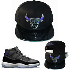 Mitchell & Ness Chicago Bulls Snapback Hat Black Purple Air Jordan 11 Space Jam