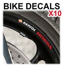 10X HONDA REPSOL MOTORCYCLE BIKE WHEEL STICKERS DECALS TAPE RIMS