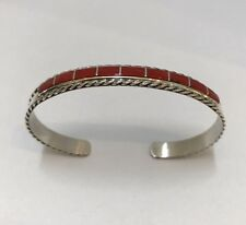 Native American Sterling Silver Zuni Coral Inlay Cuff Bracelet