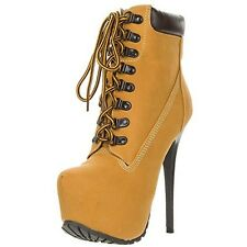 Women Lace Up High Heel Ankle Boot Booties Stiletto Platform Almond Toe Shoes 10