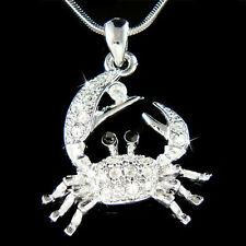 w Swarovski Crystal Ocean Beach Wedding Crab zodiac Sign Cancer Pendant Necklace