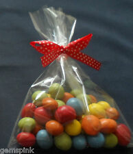 """50 x CLEAR CELLO DISPLAY BAGS FOR LOLLIPOPS CAKE POPS SWEETS 5 x 7"""" & Ties"""