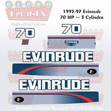 1995-97 Evinrude 70HP 3 Cylinder Outboard Reproduction 8Pc Marine Vinyl Decals