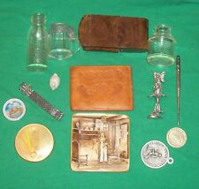 JUNK DRAWER KITSCH OLD GLASS STEIN REVLON FAIRY ARCADIA JEWELRY WALLET CORN VTG