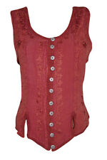 WOMEN'S PEASANT BLOUSE MAROON STONEWASHED GYPSY HIPPIE BOHO TANK TOP L