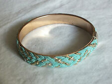 Beautiful Collectible Bangle Bracelet Gold Tone Turquoise Braid 1/2 x 2 3/4 NICE