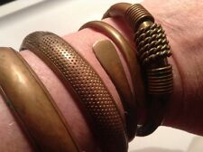Lot of 80's Brass Bracelets. Brass and Leather and Brass Bangles