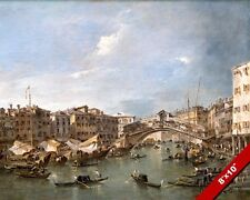 GRAND CANAL & RIALTO BRIDGE VENICE ITALY PAINTING ART REAL CANVAS GICLEE PRINT