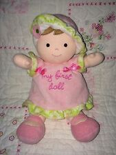 Carters My First Doll Pink green dress hat brown hair flower rattle plush baby