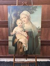 INCREDIBLY Beautiful HUGE Antique Chromolithograph of  HOLY MOTHER & BABY JESUS